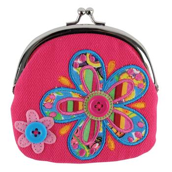 Preschooler signature coin purse | Pink flower kiss-lock purse