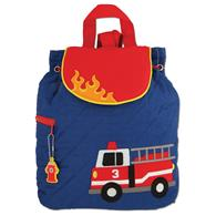 Quilted Backpack for pre-schoolers | Toddler firetruck backpack