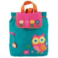Quilted Backpack for pre-schoolers | Teal owl backpack for toddlers