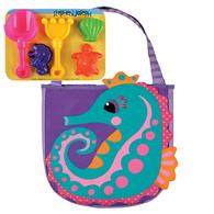 BEACH TOTES (w/sand toy play set)  SEAHORSE (S15)