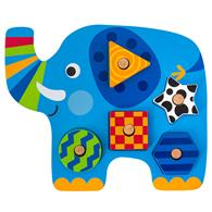 SHAPED WOODEN PEG PUZZLE ELEPHANT (F17)
